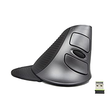 J-Tech Digital Scroll Endurance Wireless Mouse Ergonomic Vertical USB Mouse with Adjustable Sensitivity  600/1000/1600 DPI  Removable Palm Rest & Thumb Buttons - Reduces Hand/Wrist Pain