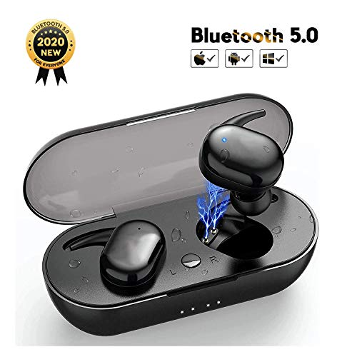 Auriculares Bluetooth, Bluetooth 5.0 Auriculares Inalámbricos con 3D Estéreo, IPX5 Impermeables Auriculares Deportivos con Control Táctil para Airpods Pro/iPhone/Android