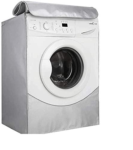 Manta para lavadora impermeable, lavadora, con cremallera maciza, protección antipolvo, protección frontal, tapa de secado en caliente (color Silv).