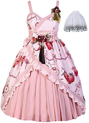 Topin Girls Japanese Kimono Harajuku Lolita Dress Cute School Girl Anime Summer Dresses with Flowers Pink
