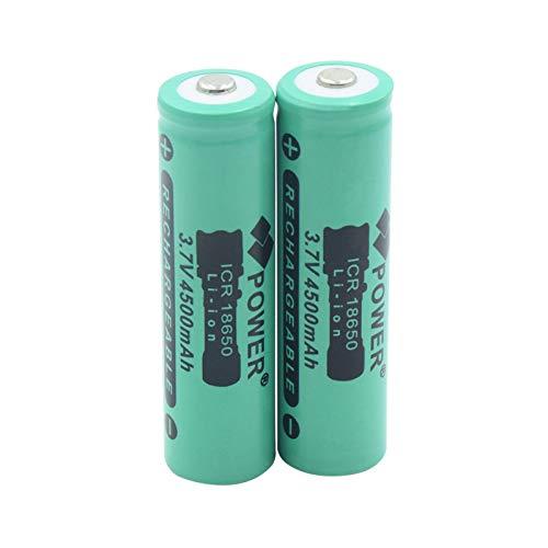 ICR 18650, 3,7 V, 4500 mAh, batería de iones de litio con botón superior, baterías de repuesto para linterna recargable 2 unidades