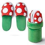 GSDJU Zapatillas de Super Mario Bros, decoración de piraña, Zapatos de Cosplay de Flores, Zapatillas de Felpa de otoño e Invierno, Mayor