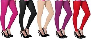 Ezee Sleeves Women's Cotton Leggings Combo Set of 5 | Legging for Women | Legging Combo Set | Cotton Leggings