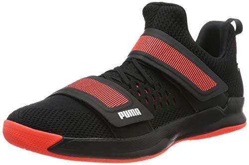 PUMA Unisex-Erwachsene Rise Xt Netfit 1 Futsalschuhe , Schwarz (Puma Black-Silver-Nrgy Red 01), 46.5 EU (11.5 UK)