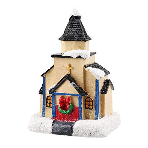 Weihnachtsdörfer Beleuchtet Häuser mit LED-Lichtern Miniatur Harz Haus Figuren Weihnachtsszene Haus Ornament Mini Village Weihnachten Winter Weihnachtsstadt Ornamente-10cmx6cmx10cm