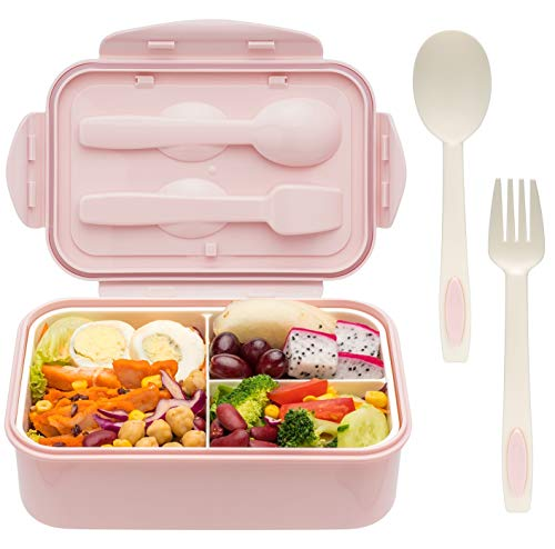 Bento Boxes for Adults - 1400 ML Bento Lunch Box For Kids Childrens With Spoon & Fork - Durable, Leak-Proof for On-the-Go Meal, BPA-Free and Food-Safe Materials
