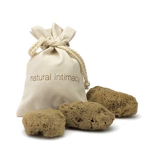 IntimateCare - Esponjas de mar (3 unidades, tamaño mediano, sin blanquear), en bolsa de algodón orgánico