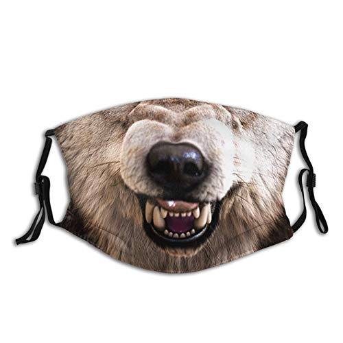 Wolf Snarl Face Mask With Filter Pocket And 2 Pcs Filters Washable Face Bandanas Balaclava Reusable Fabric Mask For Men Women