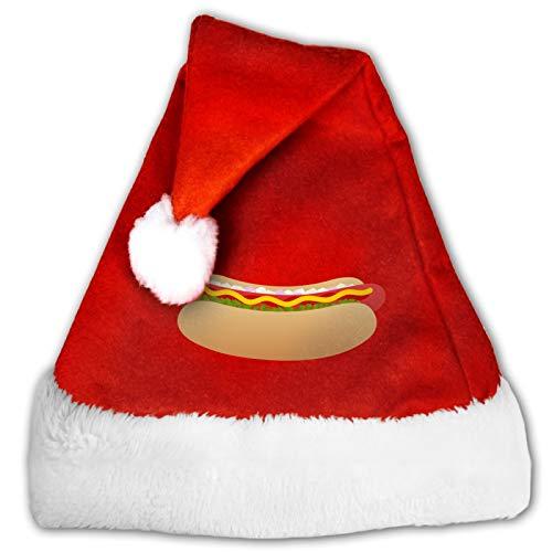 Hot Dog Unisex Santa Hat,Comfort Red and White Plush Velvet Christmas Party Hat