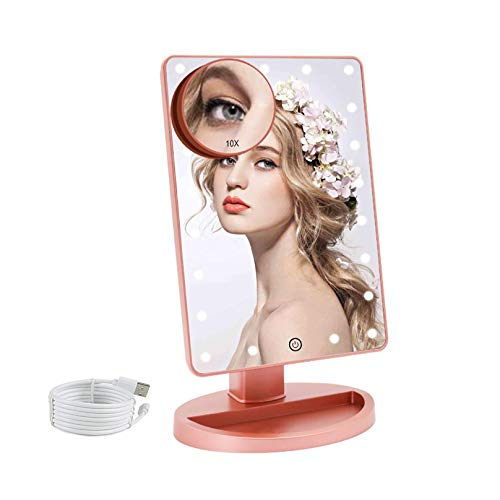 COSMIRROR Lighted Makeup Vanity Mirror with 10X Magnifying Mirror, 21 LED Lighted Mirror with Touch Sensor Dimming, 180°Adjustable Rotation, Dual Power Supply, Portable Cosmetic Mirror (Rose gold)
