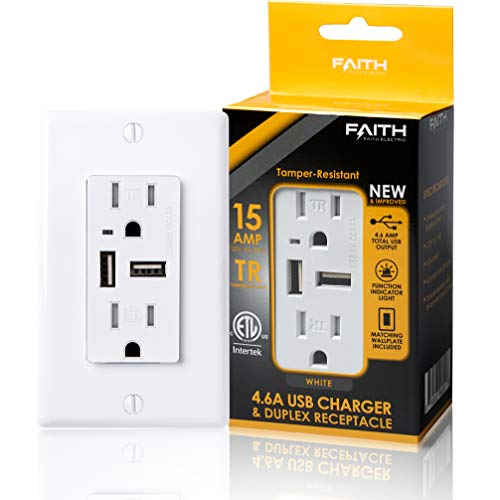 Faith 4.6A USB Outlet High Speed Charger, 15A Tamper-Resistant Receptacle with Wall Plate, 2 Outlets & 2 USB Ports, Compatible with iPhone, iPad, Android, Samsung Devices & More, 1-Pack, White…