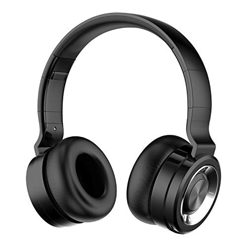 Alitoo Auriculares Inalámbricos Bluetooth con Micrófono Hi-Fi Deep Bass Auriculares Inalámbricos Sobre El Oído, Almohadillas de Protección Cómodo, 12 Horas de Tiempo de Juego para Viajes (Plata Negro)