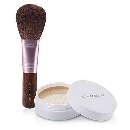 Sheer Cover Perfect Shade Mineral Foundation, Medium Shade, Patented Pigments, Trueshade Technology for Color Match, Contains Antioxidants and Botanicals, Free Foundation Brush, 4gms