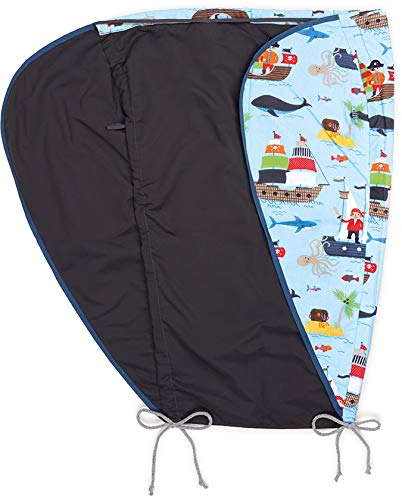Priebes Sonnensegel Johanna UV Schutz 50+ | Sonnendach mit Seitenschutz | Universal Sonnenschutz | Sonnensegel für Kinderwagen & Buggy, Design:Piraten