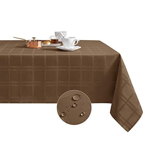 MILARAN- Mantel de poliéster 100% impermeable, mantel rectangular de vinilo a prueba de aceite y de derrames, cubierta de mesa para uso en interiores y exteriores.