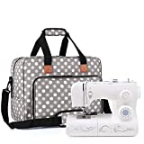 Luxja Sewing Machine Bag, Portable Tote Bag Compatible with Most Singer, Brother Sewing Machines and Extra Sewing Accessories, Gray Dots portable sewing machine Dec, 2020