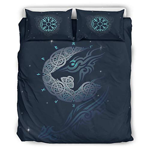 Knowikonwn viking Navigation Compass of Icelandic Comforter Bedding Sets Premium 3 Pieces Pillow/Duvet Cases - Soft Comfort Boho Bed Sheet Set white 104x90 inch