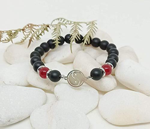 Pulsera de Piedras Naturales auténticas, Pulsera de hombre, Pulsera de Chico, Pulsera de Jade Rubí y Ónix Mate, pulsera energética, pulsera de Acero, regalo único.