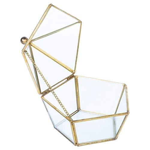 UPKOCH 1 caja de anillo de cristal geométrico transparente pentágono expositor de...