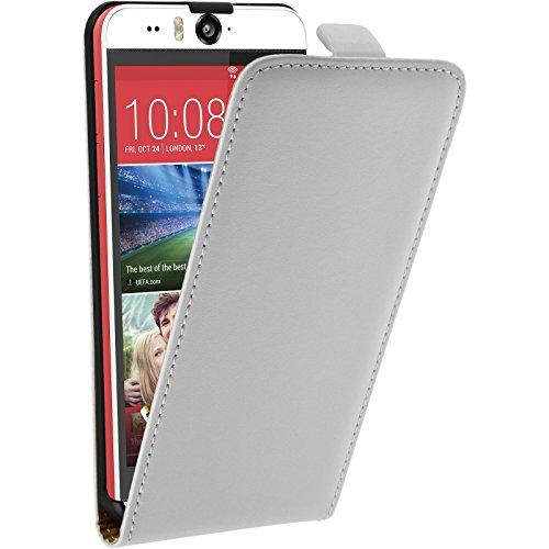PhoneNatic Kunst-Lederhülle kompatibel mit HTC Desire Eye - Flip-Hülle weiß + 2 Schutzfolien