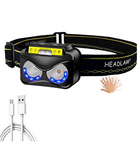 Luz de Cabeza, 6 Modos Linterna de Cabeza Frontal LED Alta Potencia USB Recargable Impermeable Sensor Inteligente para Pesca Montañismo Bicicleta Ciclismo Senderismo