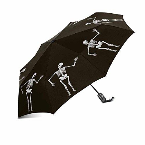 InterestPrint Funny Dancing Human Skeleton Halloween Design Windproof Compact One Hand Auto Open and Close Folding Umbrella, Rain & Outdoor Unbreakable Travel Umbrella