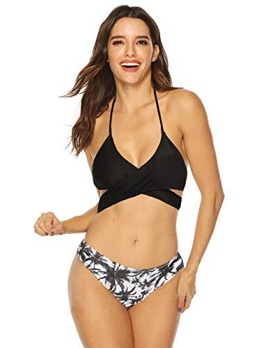 RIOJOY Damen Push Up Bikini Set Zweiteilige Badeanzug Bademode Strandkleidung Crossover Neckholder Triangel Oberteil Bandeau Strandmode Blumen Bikinihose