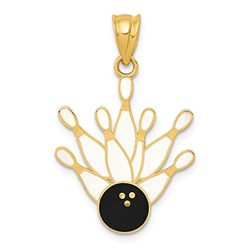Black Bow Jewellery Company: Emaillierter Bowlingkugel und 7 Pins Anhänger 14 k Gelbgold