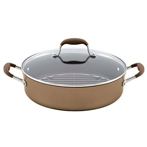Anolon Advanced Hard Anodized Nonstick Saute Pan / Frying Pan / Fry Pan - 5.5 Quart, Brown