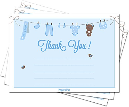 30 Baby Shower Thank You Cards for Boys with Envelopes (30 Pack) - Baptism or Baby Shower Thank You Notes - Fits Perfectly with Blue Baby Shower Invitations, Supplies and Decorations