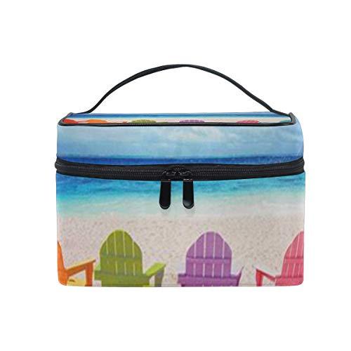 Sac de maquillage Chaises de plage Sac cosmétique Grand sac de toilette portable pour les femmes/filles Voyage