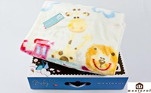 Manterol Decke Kinderbett Baby Zoo 110 x 140 cm in Deco Box