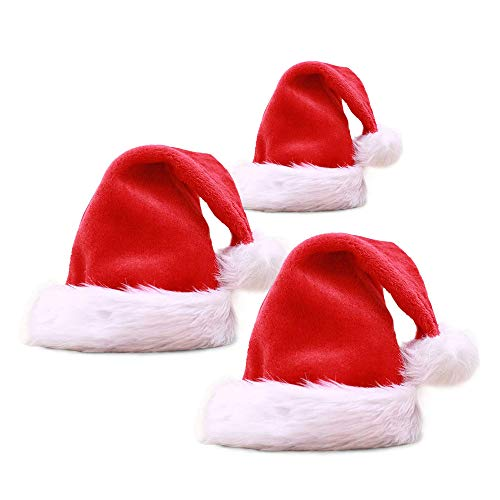 Anyingkai 3PCS Sombrero de Santa Claus,Sombrero de Santa de Navidad,Gorro Navideño Bebe,Gorro Navideño para Niño,Gorro de Papá Noe,Gorro Navideño (Rojo-3)