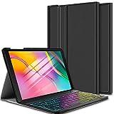 ELTD Clavier Étui pour Samsung Tab A 10.1 Pouces 2019 T510/515,[AZERTY], Wireless Clavier 7 Couleurs Trois partition...