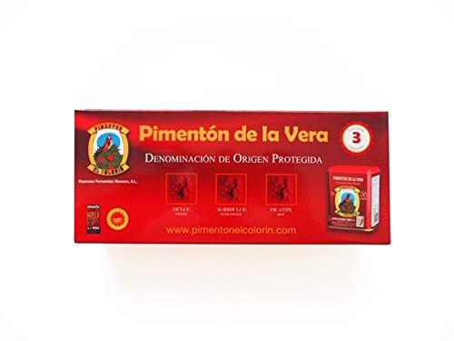 Pack Regalo Dulce, Agridulce y Picante de la Vera DOP. El Colorín 3 latas 80 grs