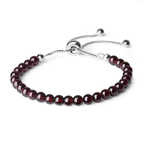 coai Geschenkideen Damen 925 Sterling Silber Glücksarmband Slider Bracelet aus Granat in Jeder Gewünschten Größe