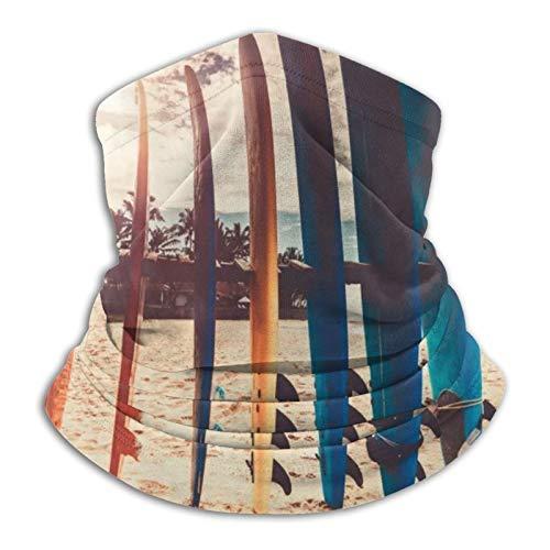 YBEAYQYXR Surf Boards On The Beach - Pasamontañas unisex de microfibra para el cuello, protector solar, resistente al viento, para exteriores