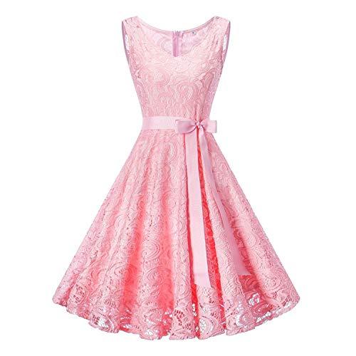 Vestido de túnica de encaje floral vintage para mujer, sin mangas, cuello en V, elegante, para fiesta, estilo retro de los años 50