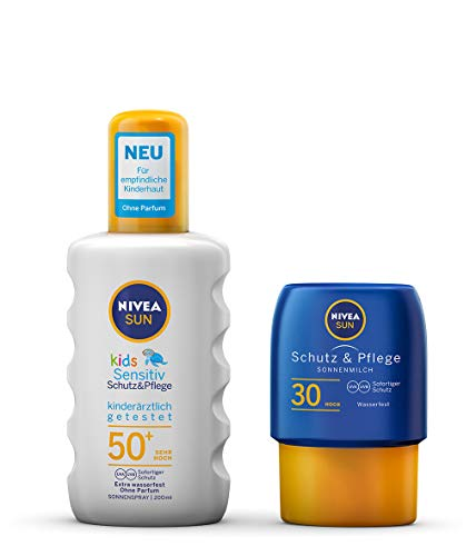 NIVEA SUN Kids Sensitiv - Spray solare + Lozione solare per pelli sensibili dei bambini (1 x 200 ml + 1 x 50 ml), con protezione solare UPF 50+, lozione solare per pelli sensibili dei bambini