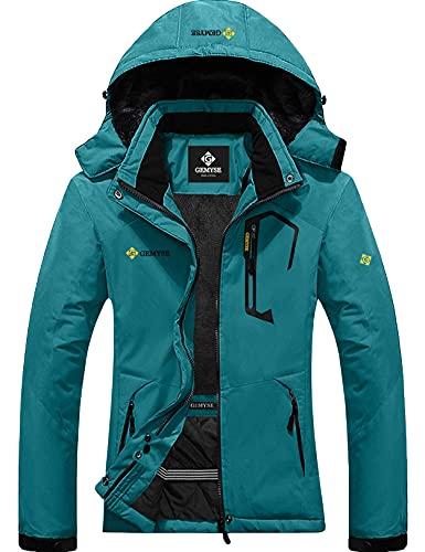 GEMYSE Chaqueta de Esquí Impermeable de Montaña para Mujer Abrigo de Invierno de Lana Antiviento con Capucha (Azul ácido 01,L)