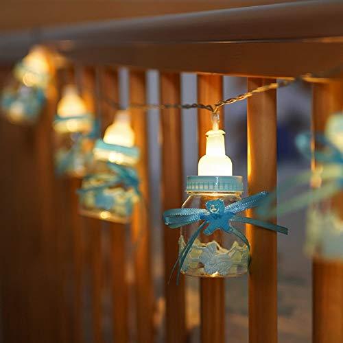 Festive Lights - Guirlande Lumineuse10 Biberons Bleux Lumineux Éclairage LED Naissance Baby shower Bébé Garçon 1,50m - à Piles (Bleu)