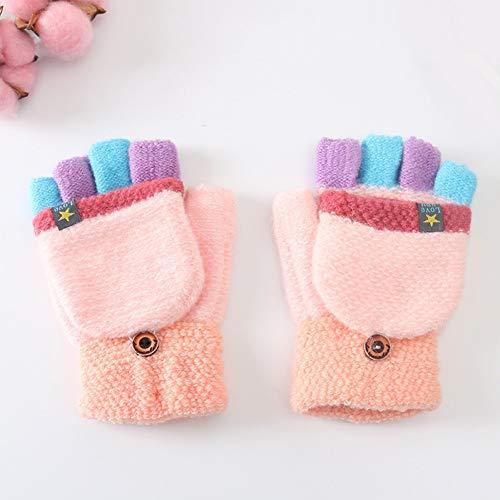 LKXL Warme Handschuhe Winter Color Matching Kinder warme Handschuhe Pentagramm Kennzeichnung 5-12 Jahre Grundschüler Flip Half Finger Handschuhe