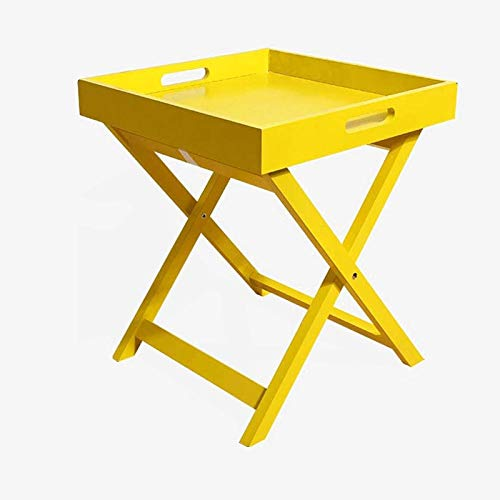 DJDLLZY Mesa de centro, mesa auxiliar de café, mesa auxiliar para sofá, mesa auxiliar de madera para sala de estar, dormitorio, mesa auxiliar de salón, balcón, mini mesa simple (color: amarillo)