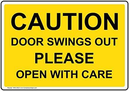 Voorzichtigheid deur schommelingen uit Gelieve Open met zorg teken, Grappige Wanring tekenen, Poort teken, Vandaar Yard Sign,8