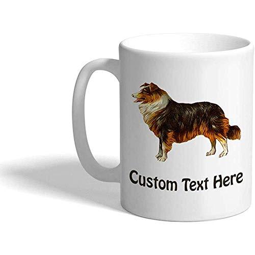 Taza de café personalizada 330 ml Taza de té de cerámica con apariencia vintage Collie Texto personalizado