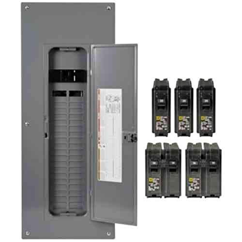Square D by Schneider Electric HOM4080M200PQCVP Homeline 200 Amp 40-Space 80-Circuit Indoor Main Breaker Qwik-Grip Plug-On Neutral Load Center with Cover - Value Pack, 4 Count
