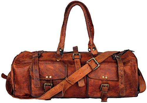 ZNT BAGS Vintage Handcrafted Leather Unisex Duffle Bag (Brown)
