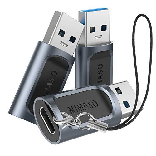 Nimaso Adattatore da USB C a USB 3.0 (3 Pezzi), Adattatore USB C Femmina a USB A Maschio, Adattatore Ricarica Veloce 5V/3A Data SYNC 5Gbps per Samsung S8, Google Pixel 2, MacBook, Huawei P20 PRO