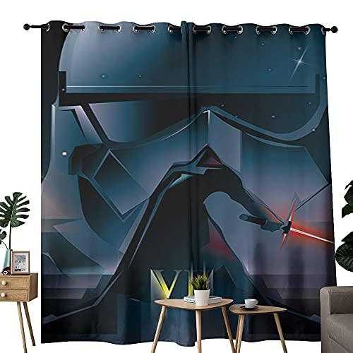 Cortina abstracta colorida para dormitorio con diseño de Star Wars de Darth Vader para sala de estar, 254 x 243 cm