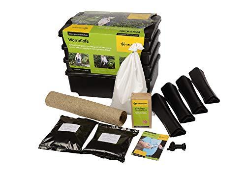 Wurmkomposter WORMCAFÉ von NATURSACHE - Komposter aus recyceltem Plastik - Wurmfarm für Küche, Balkon und Garten - inkl. KOMPOSTWÜRMER & Zubehör